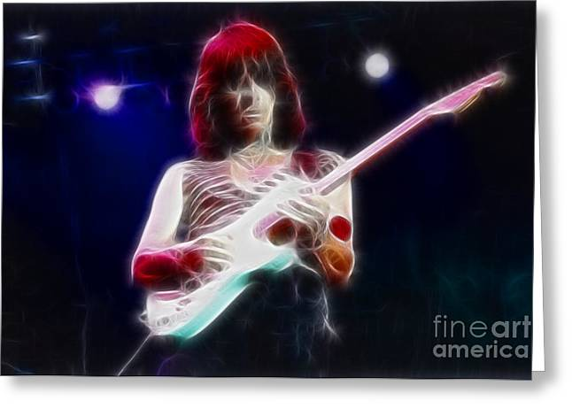 Live Art Greeting Cards - Jeff Beck-95-GA14-Fractal Greeting Card by Gary Gingrich Galleries