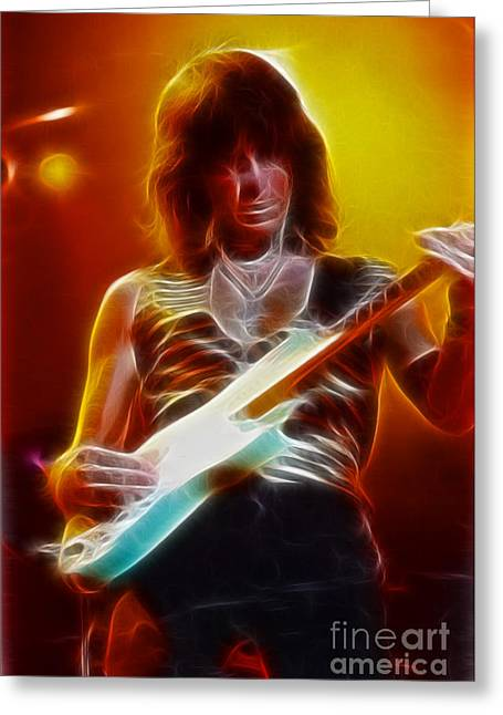 Live Art Greeting Cards - Jeff Beck-95-GA24-Fractal Greeting Card by Gary Gingrich Galleries