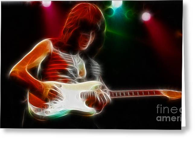 Live Art Greeting Cards - Jeff Beck-95-GA34-Fractal Greeting Card by Gary Gingrich Galleries