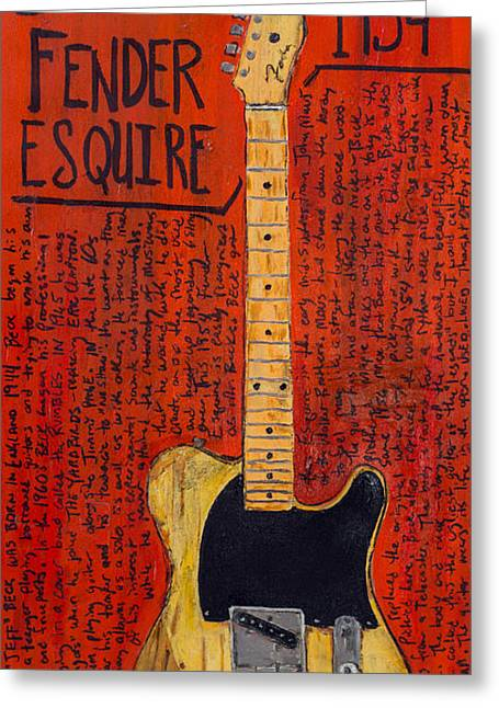 Fender Esquire Greeting Cards - Jeff Beck Fender Esquire Greeting Card by Karl Haglund
