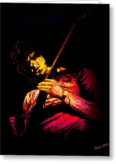Jeff Mixed Media Greeting Cards - Jeff Beck Greeting Card by Paul Savoie