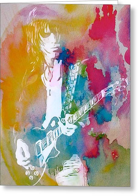 Jeff Mixed Media Greeting Cards - Jeff Beck Watercolor Greeting Card by Dan Sproul