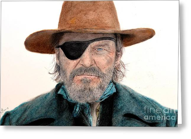 Sf Bay Bombers Mixed Media Greeting Cards - Jeff Bridges as U.S. Marshal Rooster Cogburn in True Grit  Greeting Card by Jim Fitzpatrick