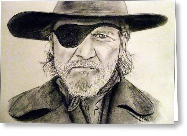 Rooster Cogburn Greeting Cards - Jeff Bridges as U.S. Marshal Rooster Cogburn Greeting Card by Jim Fitzpatrick