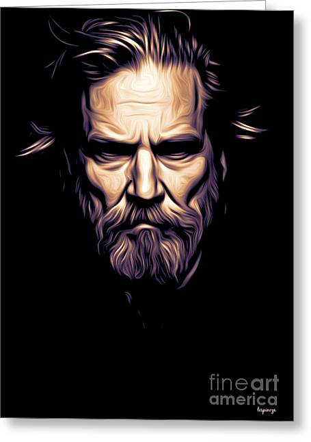 Look A Like Greeting Cards - Jeff Bridges Greeting Card by Larry Espinoza