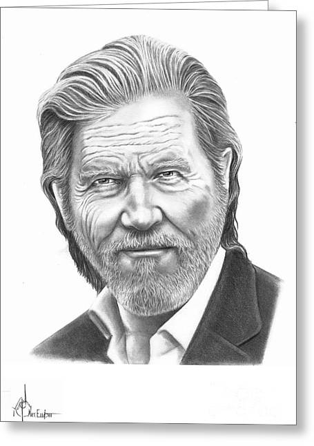 Famous Bridge Drawings Greeting Cards - Jeff Bridges Greeting Card by Murphy Elliott
