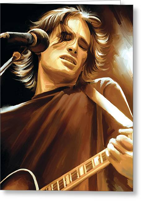 Jeff Mixed Media Greeting Cards - Jeff Buckley Artwork Greeting Card by Sheraz A