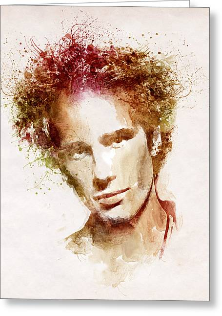 Jeff Mixed Media Greeting Cards - Jeff Buckley Greeting Card by Marian Voicu