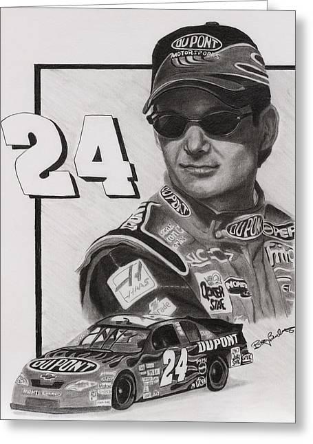 Jeff Gordon Greeting Card by Billy Burdette