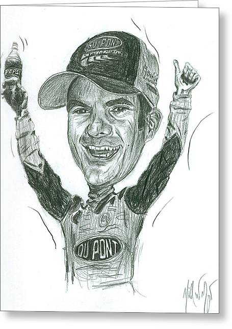 Jeff Drawings Drawings Greeting Cards - Jeff Gordon Caricature Greeting Card by Michael Morgan