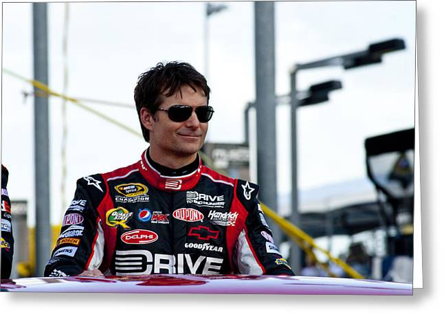 Jeff Gordon Greeting Cards - Jeff Gordon intro Greeting Card by Kevin Cable