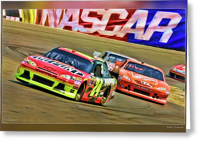 Jeff Gordon Greeting Cards - Jeff Gordon-Nascar Race Greeting Card by Blake Richards