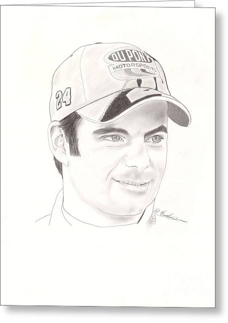 Jeff Drawings Drawings Greeting Cards - Jeff Gordon Greeting Card by Vincent Turner