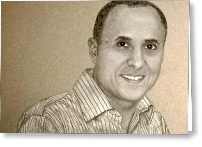 Gray Hair Pastels Greeting Cards - Jeff walters Greeting Card by Mojgan Jafari