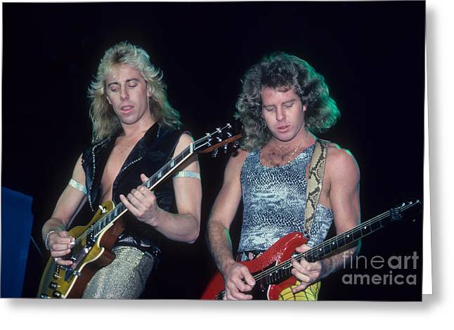 Jeff Photographs Greeting Cards - Jeff Watson and Brad Gillis of Night Ranger Greeting Card by Rich Fuscia