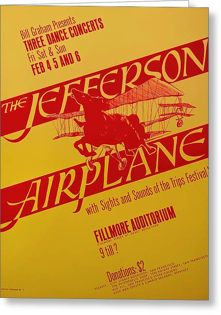 1960s Poster Art Greeting Cards - Jefferson Airplane Concert Poster Greeting Card by Mountain Dreams