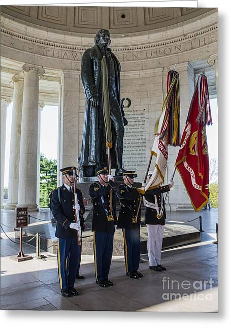 Jefferson Memorial Photographs Greeting Cards - Jefferson Color Guard Greeting Card by Jerry Fornarotto