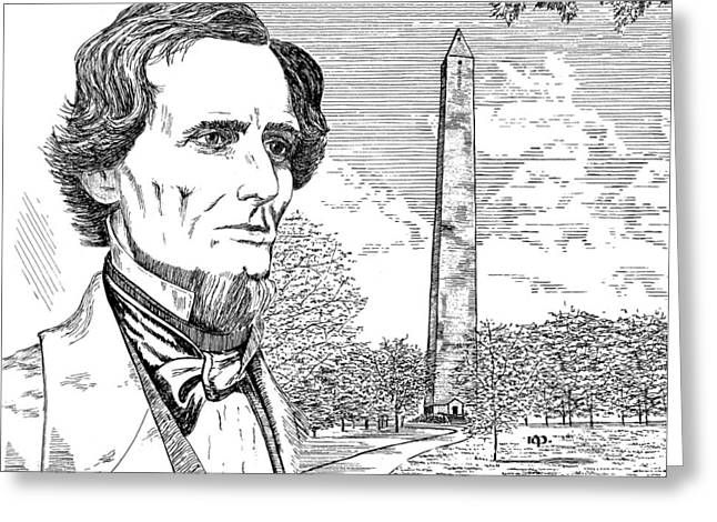 Historic Site Drawings Greeting Cards - Jefferson Davis Monument Greeting Card by Robert A Powell