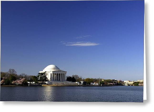 Jefferson Memorial Photographs Greeting Cards - Jefferson Memorial and DC Cherry Blossom Festival Greeting Card by Willie Harper