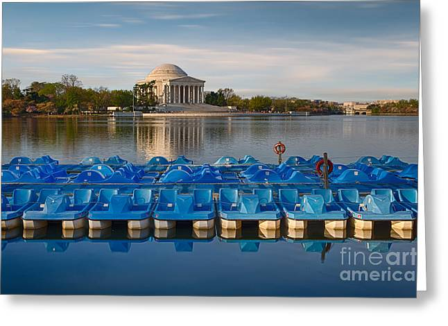 Jefferson Memorial Photographs Greeting Cards - Jefferson Memorial and Paddle Boats Greeting Card by Jerry Fornarotto