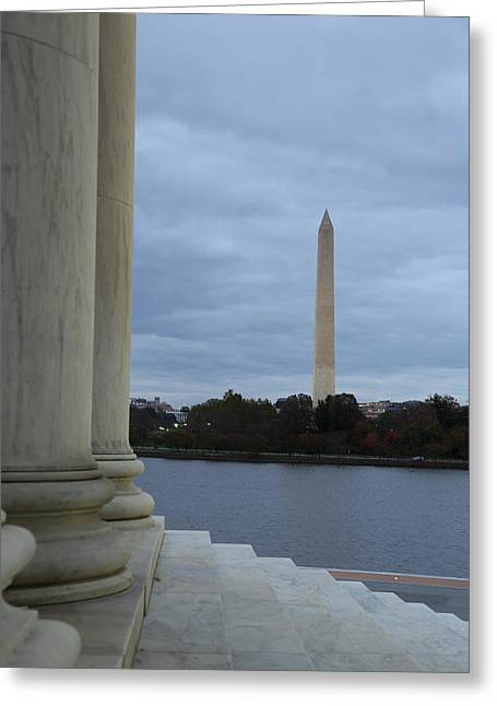 Jefferson Greeting Cards - Jefferson Memorial and Washington Monument - Washington DC - 01131 Greeting Card by DC Photographer