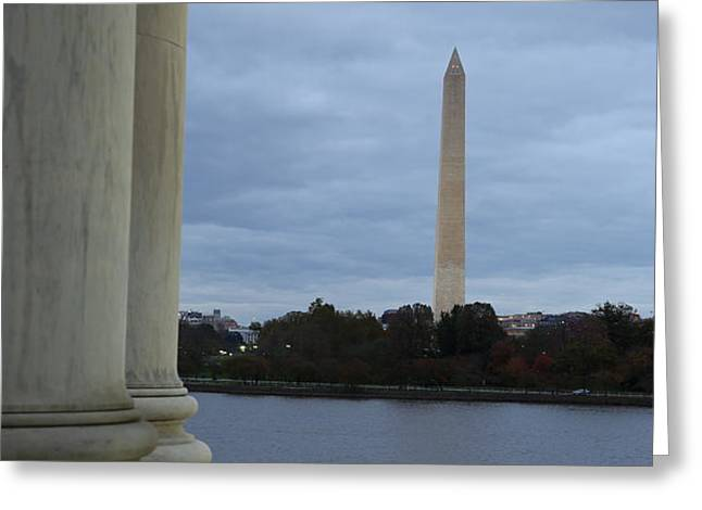 Jefferson Memorial and Washington Monument - Washington DC - 01131 Greeting Card by DC Photographer