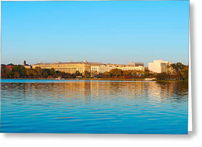 Jefferson Memorial Greeting Cards - Jefferson Memorial And Washington Greeting Card by Panoramic Images