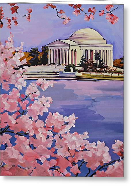 Cherry Blossoms Paintings Greeting Cards - Jefferson Memorial at Cherry Blossom Time Greeting Card by Anne Lewis