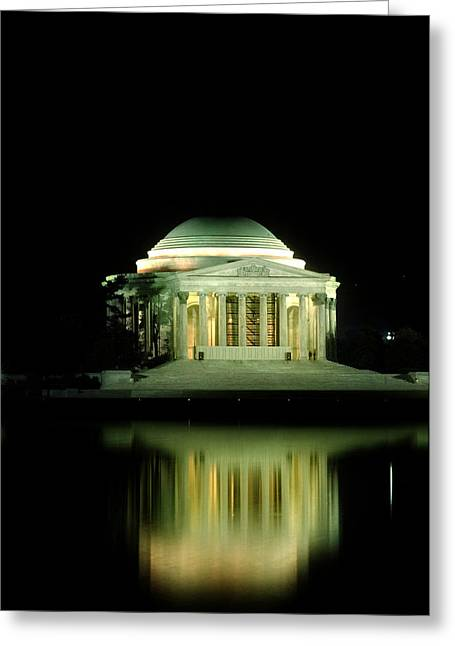 Jefferson Greeting Cards - Jefferson Memorial at Night Greeting Card by Greg and Chrystal Mimbs
