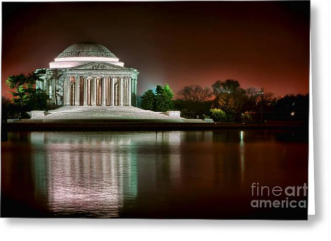 Presidential Photographs Greeting Cards - Jefferson Memorial at Night Greeting Card by Olivier Le Queinec