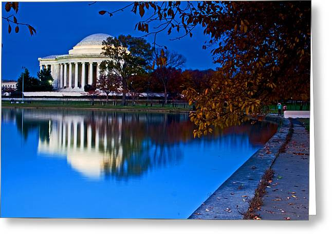 Founders Tree Greeting Cards - Jefferson Memorial at sunset Greeting Card by Bill Jonscher
