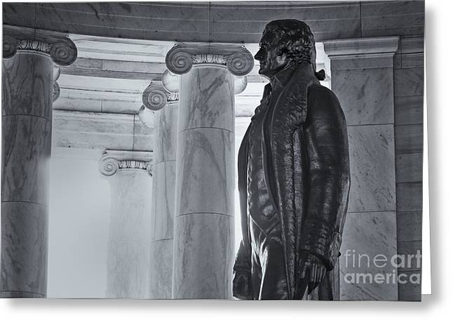 Black History Pyrography Greeting Cards - Jefferson Memorial Detail Greeting Card by Jeff Urbanchuk