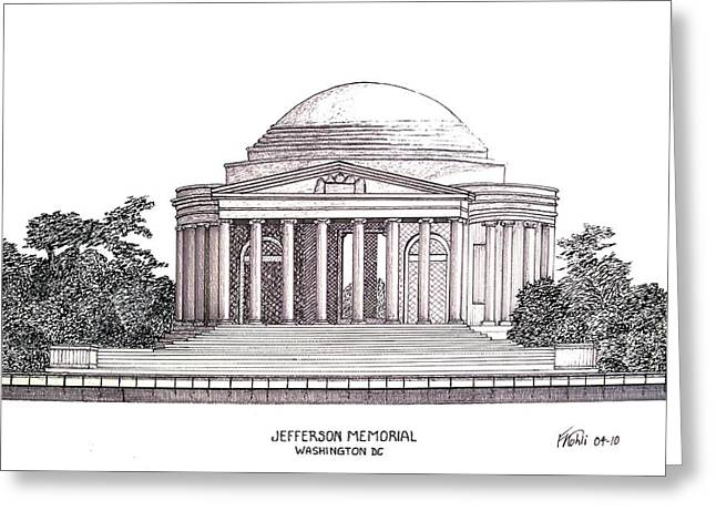 Jefferson Memorial Greeting Card by Frederic Kohli