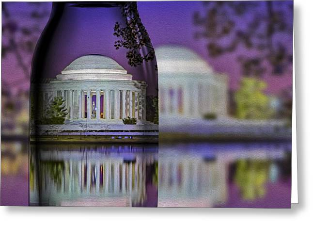 Us Capital Greeting Cards - Jefferson Memorial In A Bottle Greeting Card by Susan Candelario
