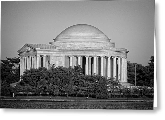 Jefferson Greeting Cards - Jefferson Memorial in Black and White Greeting Card by Greg and Chrystal Mimbs