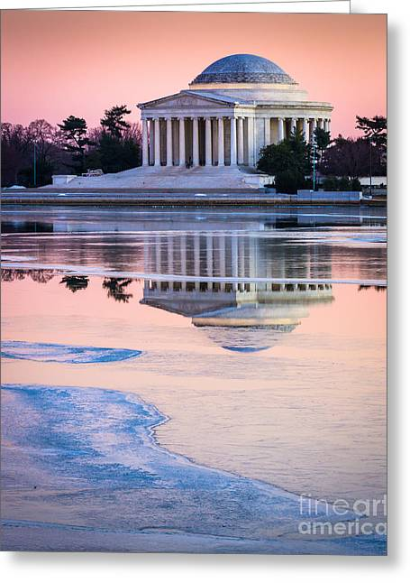 National Mall Greeting Cards - Jefferson Memorial in Winter Greeting Card by Inge Johnsson