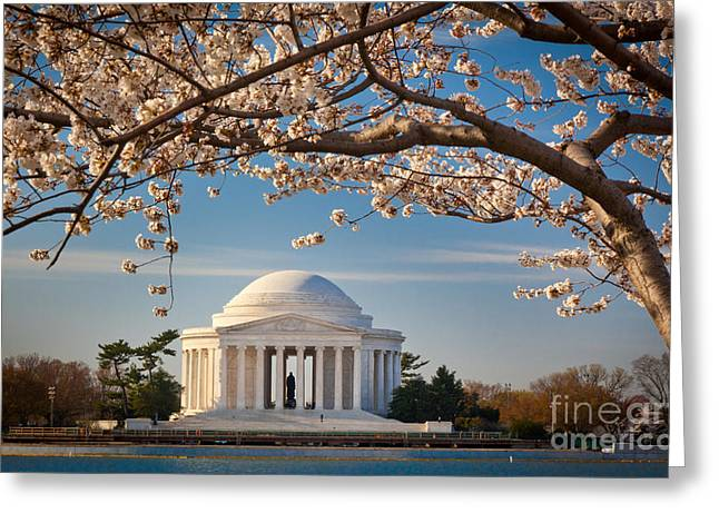 District Of Columbia Greeting Cards - Jefferson Memorial Greeting Card by Inge Johnsson