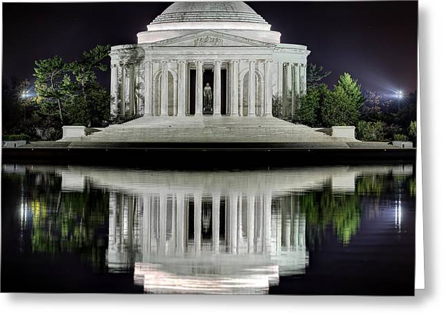 Empty Greeting Cards - Jefferson Memorial - Night Reflection Greeting Card by Metro DC Photography