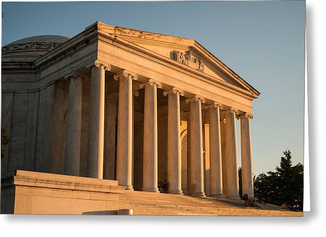 Jefferson Memorial Greeting Cards - Jefferson Memorial Sunset Greeting Card by Steve Gadomski