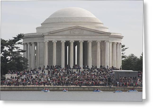 Skylines Photographs Greeting Cards - Jefferson Memorial - Washington DC - 01134 Greeting Card by DC Photographer