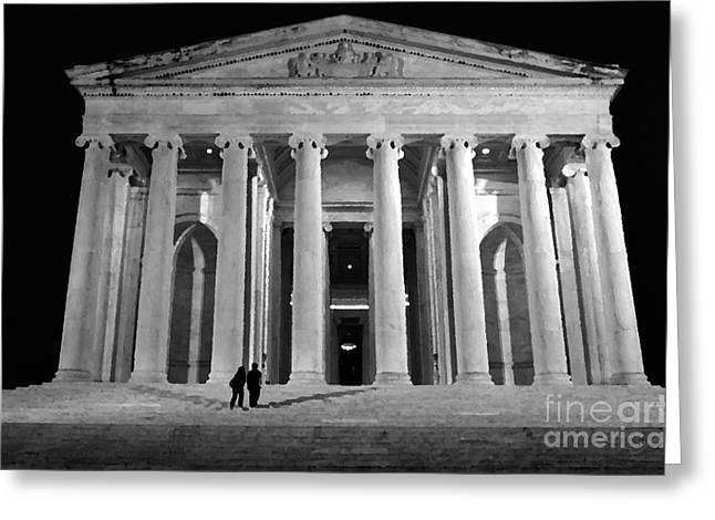 Us Capital Mixed Media Greeting Cards - Jefferson Monument at Night Greeting Card by Lane Erickson