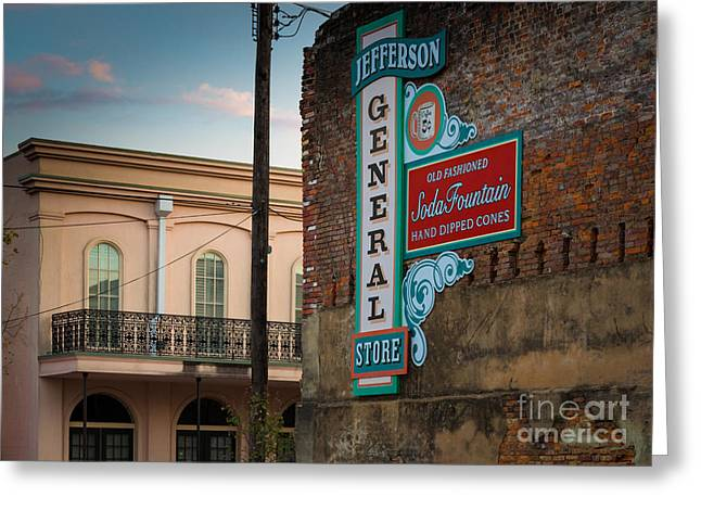 Folks Humans Greeting Cards - Jefferson Soda Fountain Greeting Card by Inge Johnsson