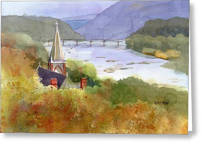Harpers Ferry Paintings Greeting Cards - Jeffersons View Greeting Card by Kris Parins