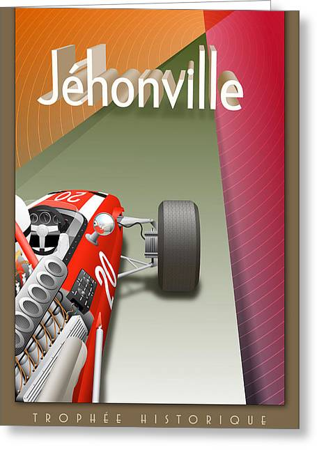Rally Greeting Cards - Jehonville Historic Trophy Classic Car Race Greeting Card by Nomad Art And  Design