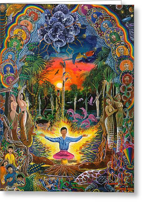 Ayahuasca Greeting Cards - Jehua Supai Greeting Card by Pablo Amaringo