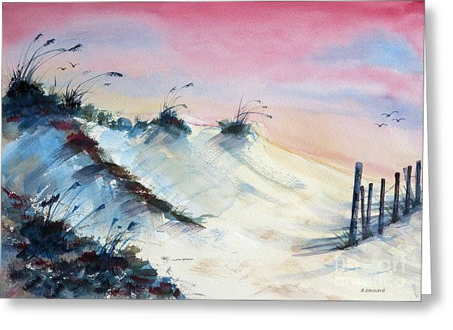 Sand Fences Paintings Greeting Cards - Jekyll Dunes Greeting Card by Dianne Barnard
