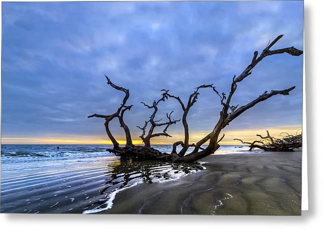 Surf Silhouette Greeting Cards - Jekyll Island Seascape Greeting Card by Debra and Dave Vanderlaan