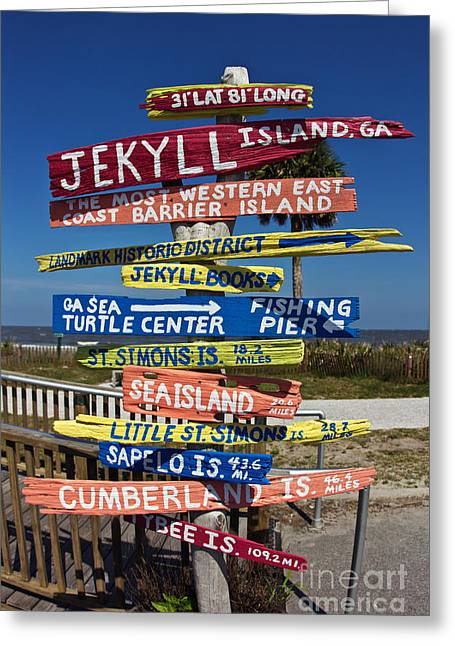 Wood Turtle Greeting Cards - Jekyll Island Sign Greeting Card by Joan McCool