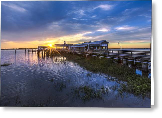 Jekyll Island Sunset Greeting Card by Debra and Dave Vanderlaan