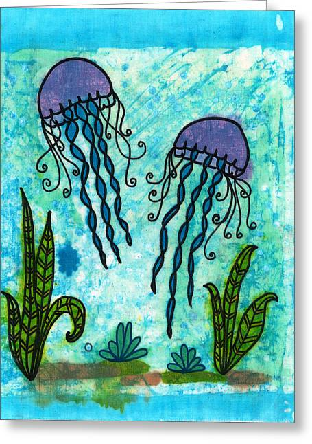 Seaside Tapestries - Textiles Greeting Cards - Jellies Greeting Card by Toni McCullough